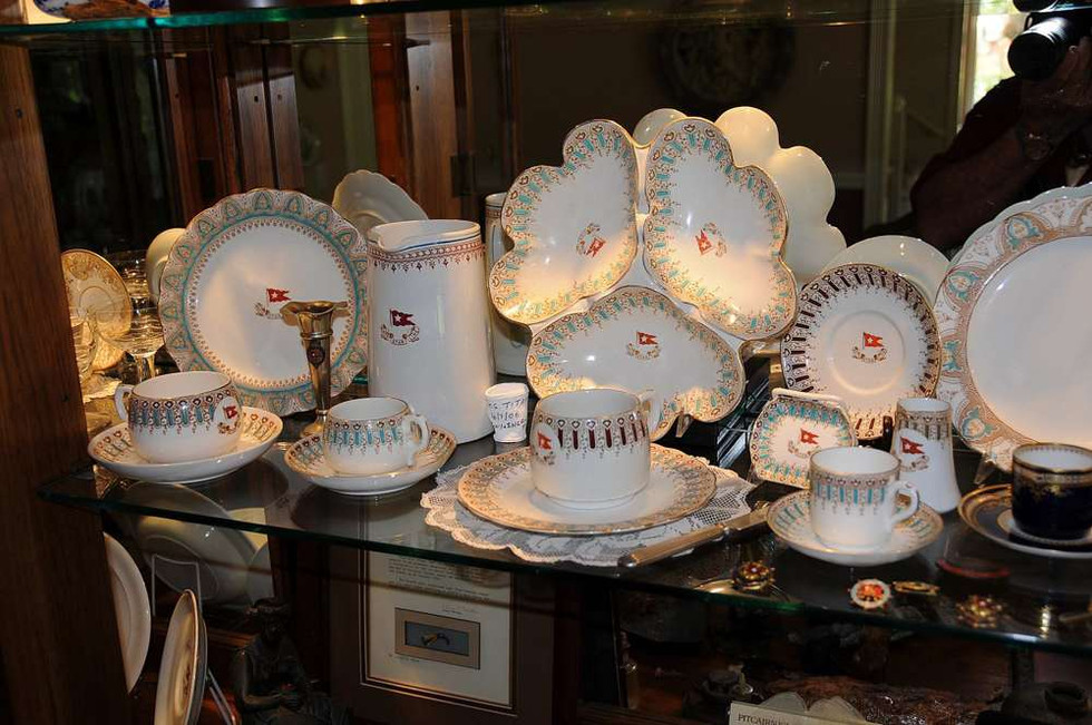 White Star Line china on display in Tony Probst's store, Audio Video Integration San Rafael, CA