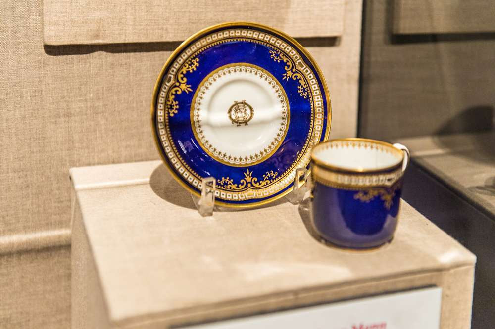 Spode pattern R4332 Cup and Saucer on display at the Ronald Reagan Library