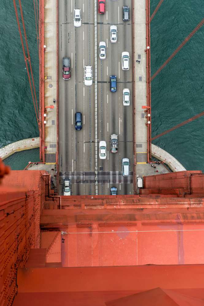 Hanging out over the edge of the Golden Gate Bridge