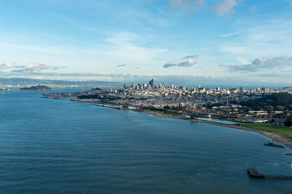 San Francisco from the top of Golden Gate Bridge