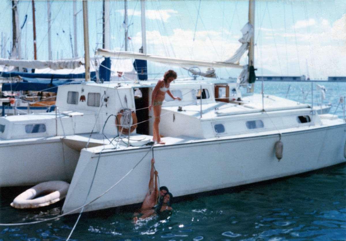 Tahiti, Jean Probst watching Tony and Vinah having a swim