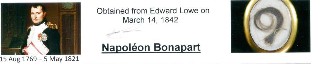 1842 March 14 Napoleon Bonapart hair