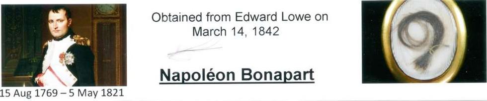 1842 March 14 Napoleon Bonapart hair