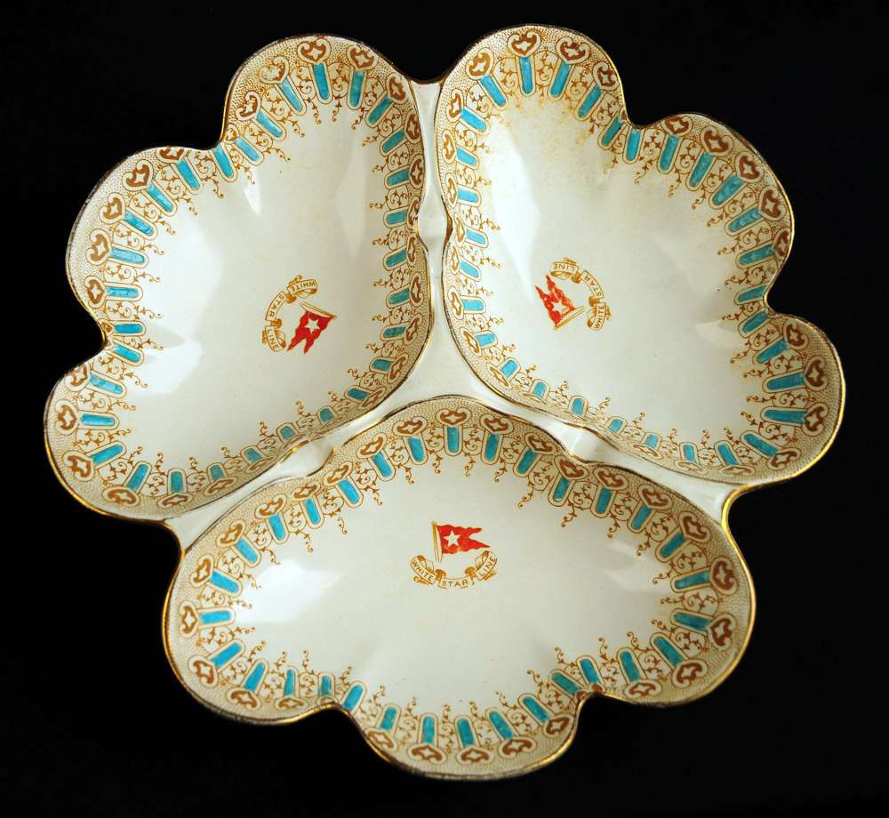 Turquoise pattern first class condiment dish