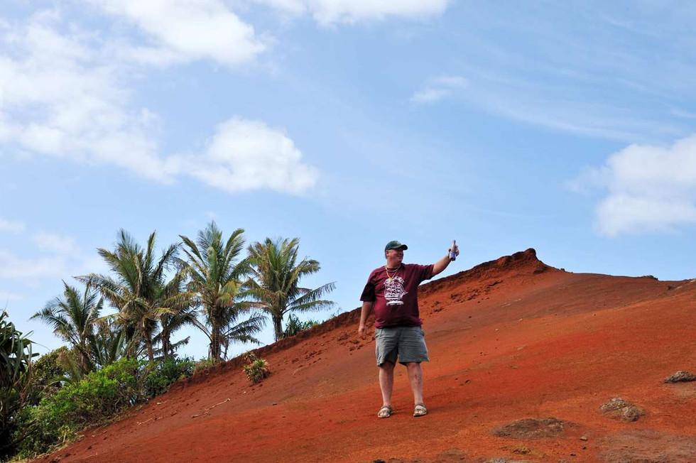 A bottle of the reddest soil on Pitcairn island