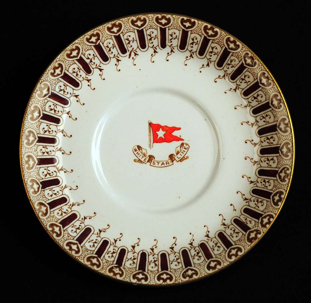 Brown finger pattern is much more limited than the turquoise variety. It was possibly used in the second class dining room or first class room service