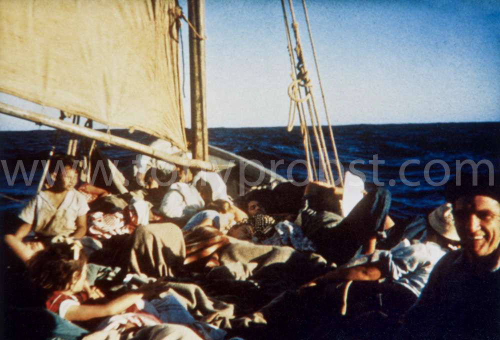 1957 Sailing to Oeno On the return trips the water would be close to the gunwale. People would always sing, mostly hyms. Would stay for a week to ten days