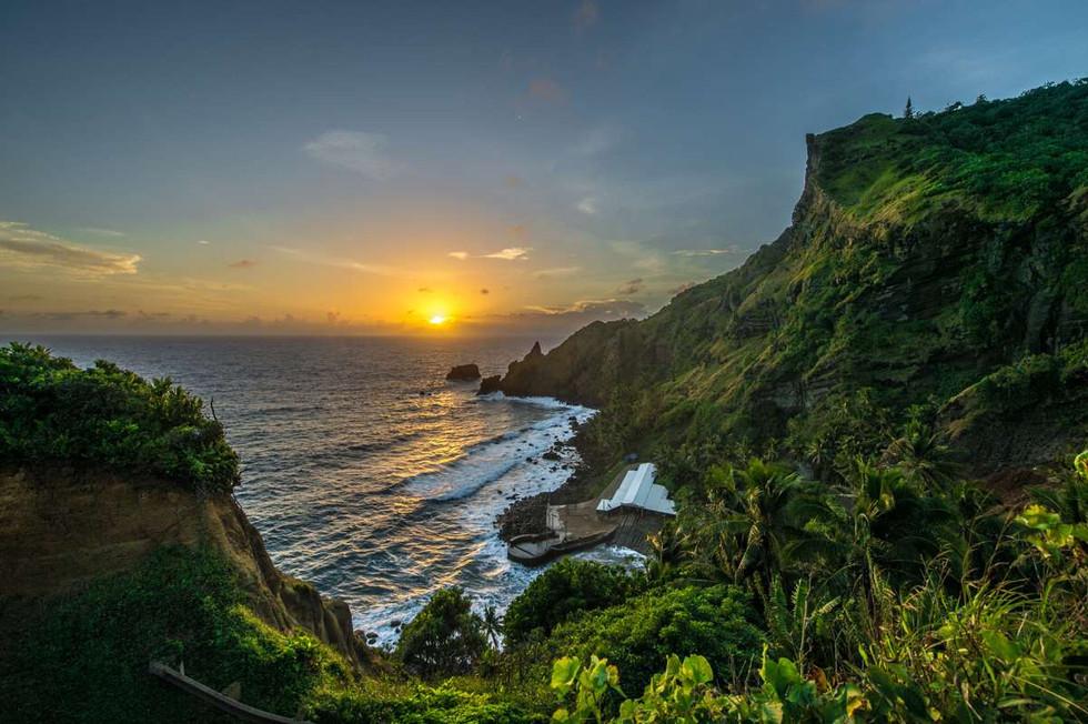 Sunrise on Pitcairn after a rainy night