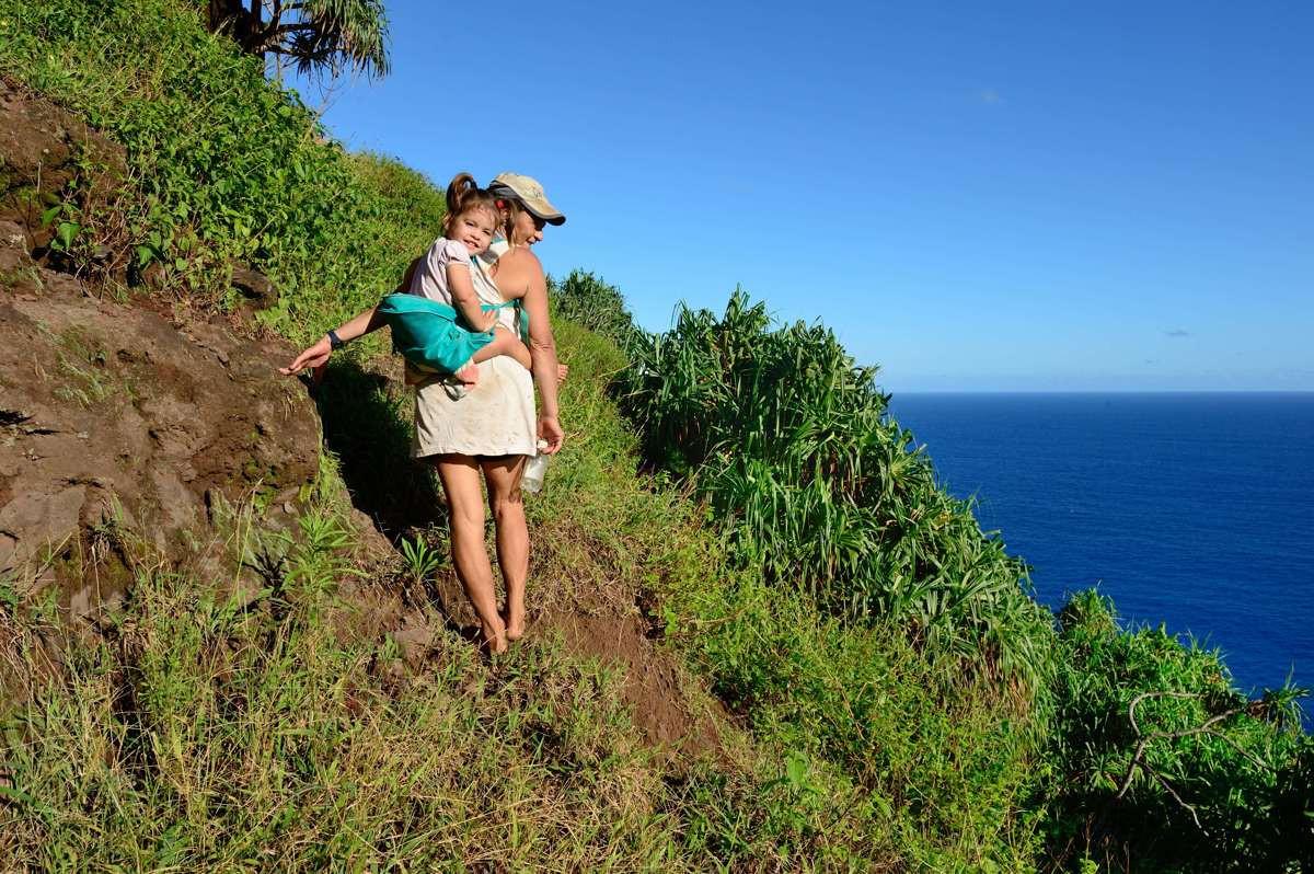 Adrianna Christian & Brenda Christian climbing back up the hill atTautama