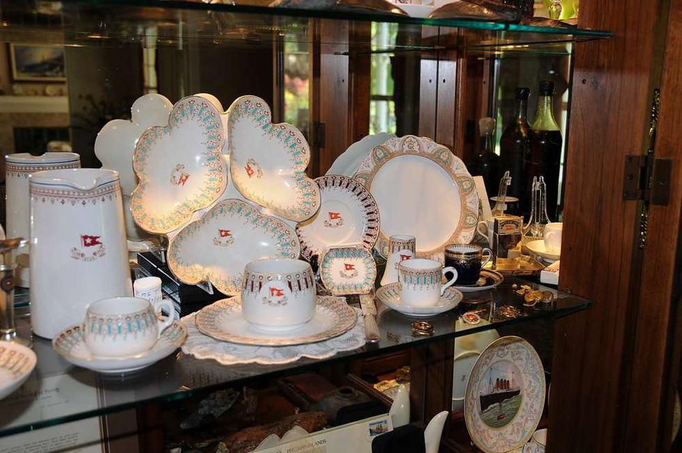 White Star Line china on display in Tony Probst's store, Audio Video Integration San Rafael, CA.