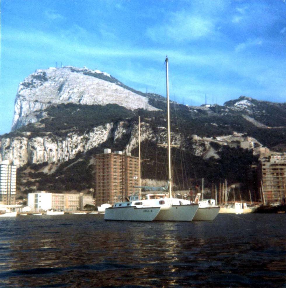 Lorelei III anchored under the Rock Of Gibraltar