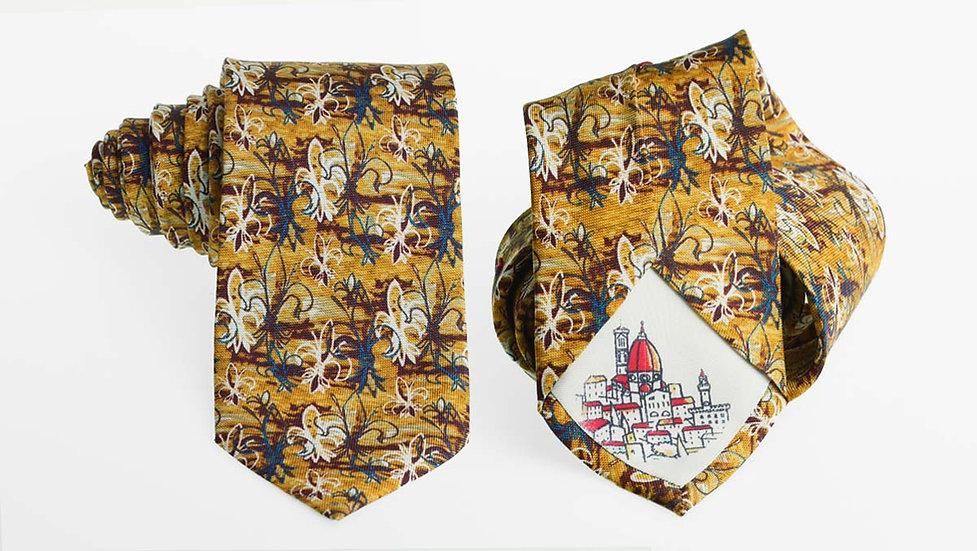 Cravatta seta Gigli | Giallo