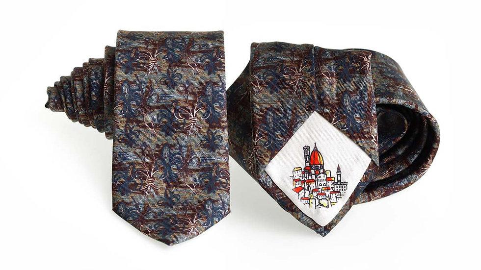 Cravatta seta Gigli | Grigio blu