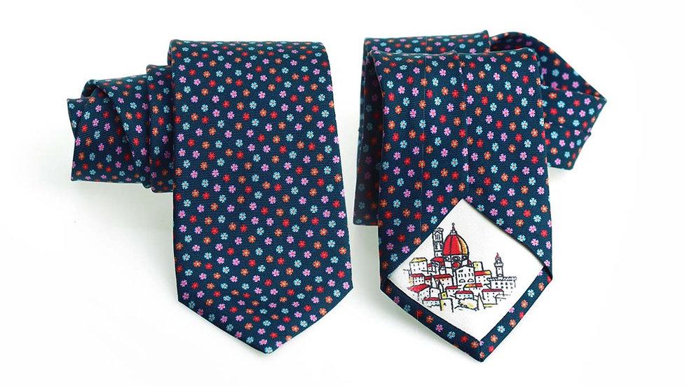 Cravatta seta blu | Fiorellini piccoli