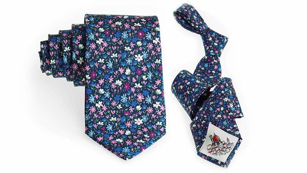 Cravatta seta blu   Campo fiorito