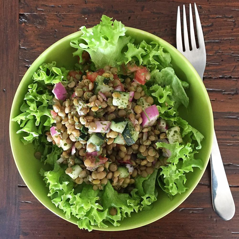ensalada de lentejas, receta, vegetariano, saludable