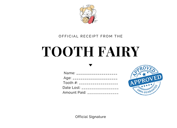 Tooth Fairy Certificate for Boys and Girls