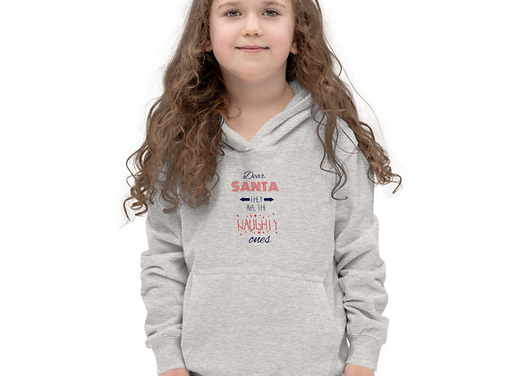 Dear Santa They Are the Naughty Ones Christmas Youth Short Sleeve Kids Hoodie