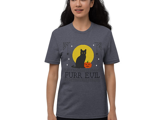 Ugly Halloween Black Cat Purr Evil Unisex recycled t-shirt