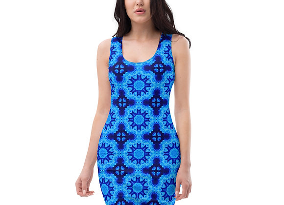 Abstract Art Blue Sublimation Cut & Sew Dress