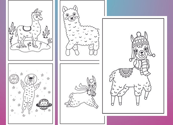 Llamas Coloring Pages for Kids - Printable