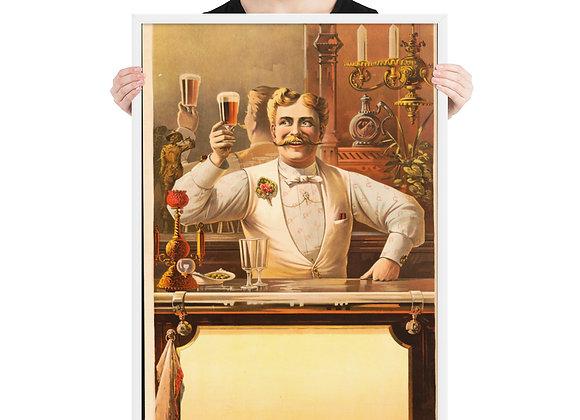 Bar Art Bartender Beer Vintage Framed poster
