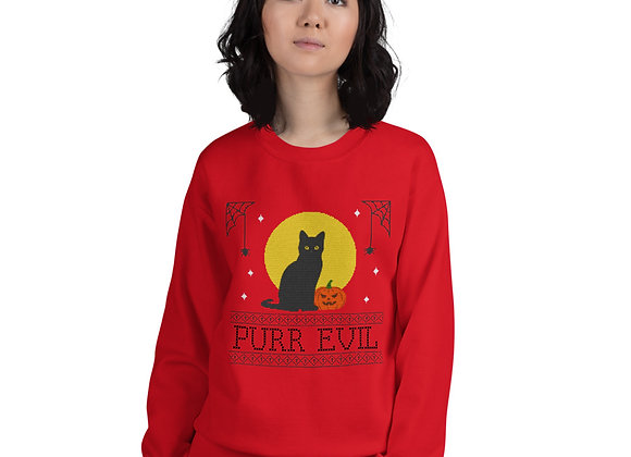Ugly Halloween Black Cat Purr Evil Unisex Sweatshirt