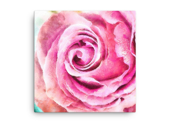 Winter Rose Watercolor Digital Painting on Canvas