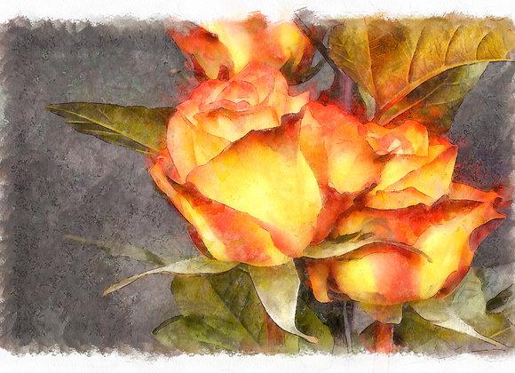 Watercolor Roses Scrapbook Page