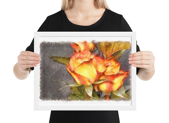 Watercolor Digitally Painted Roses Wall Decor Canvas Framed poster