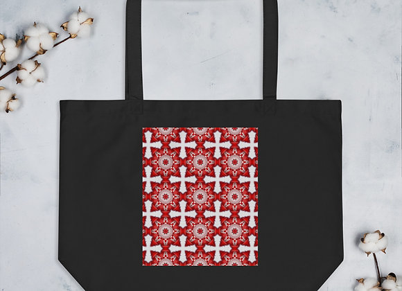Red and White Cross Large organic tote bag