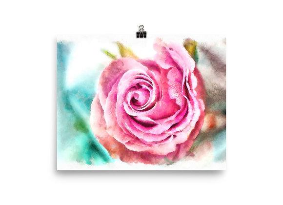 Winter Rose Watercolor Digital Painting Photo paper poster