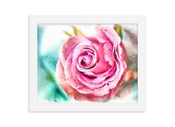 Winter Rose Watercolor Digital Painting Framed photo paper poster