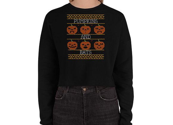 Halloween Pumpkins and Bats Crop Sweatshirt