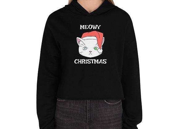Meowy Christmas Crop Hoodie