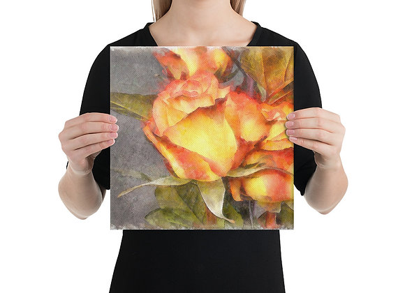 Watercolor Digitally Painted Roses Wall Decor Canvas