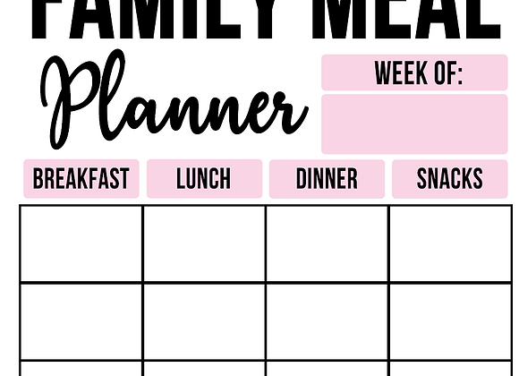 Family Meal Planner Printable - 120 pages included
