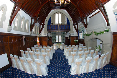 chairs set out for a wedding in the chapel at Bestwood Lodge