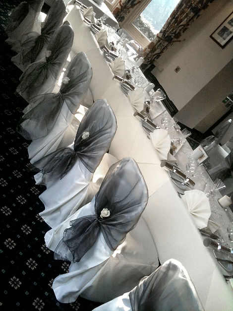 We now offer beautiful organza wraps for your chair covers