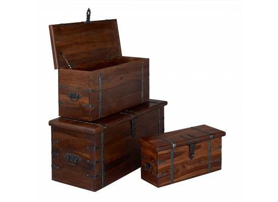 Darjeeling Set of 3 Storage Trunks
