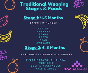 stage 1 and 2 weaning food list by age