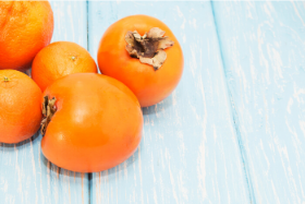 Persimmons are a winter fruit with flavors of a soft & sweet ripe peach an aftertaste of a tart apricot.