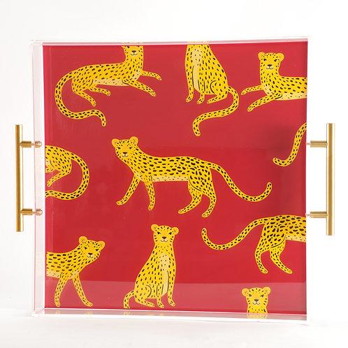 Cheetah Decoupage Tray, Resin and Acrylic