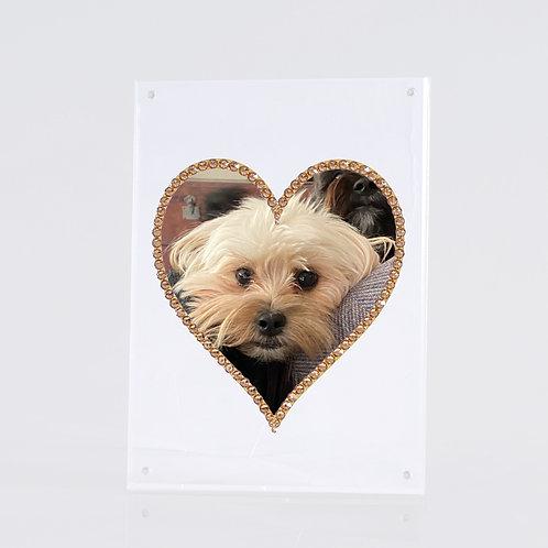 Floating Gold Heart Frame, Made with SWAROVSKI® Crystal