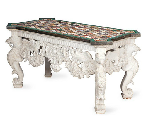 Home Interior Design Luxury Antique Decoration Furniture Marble Console  Table 20th Office
