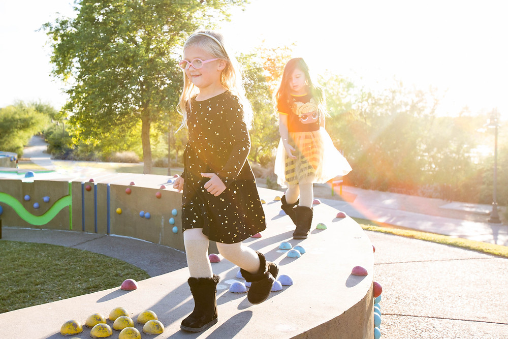 girls on playground family photography