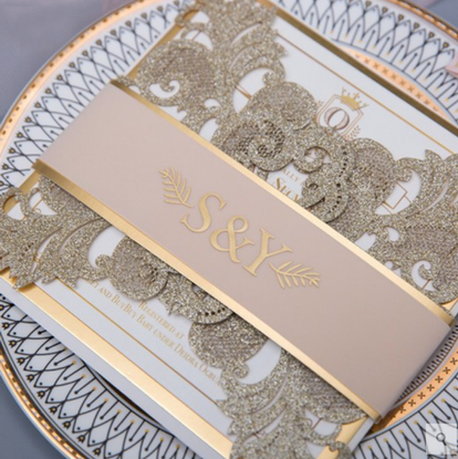 Gold Glitter Laser Cut Invitation