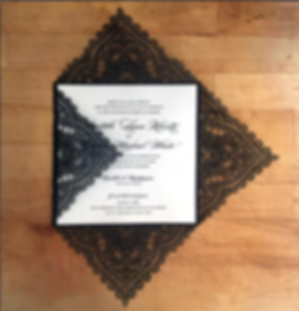 Black Lace Lasercut Wedding Invitation