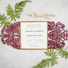 Burgundy Laser Cut Invitation