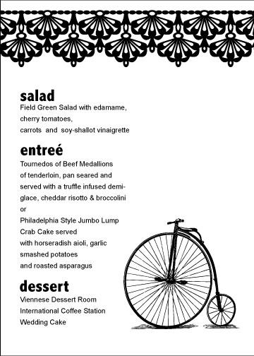 big wheel menu card